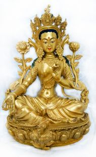 Hand painted Copper Green Tara Statues 15cm